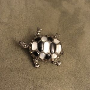 Black and white Turtle Brooch